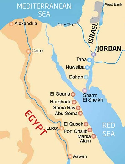 Map of Egypt Ferry Routes