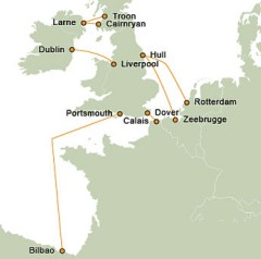 P&O Ferries Route Map